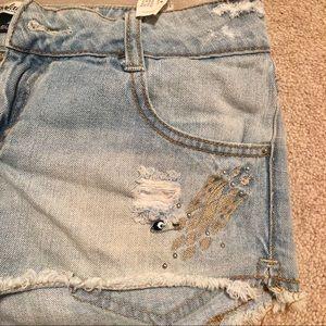 Trafaluc TRF Zara Cutoff Jean Shorts Ripped Sz 4